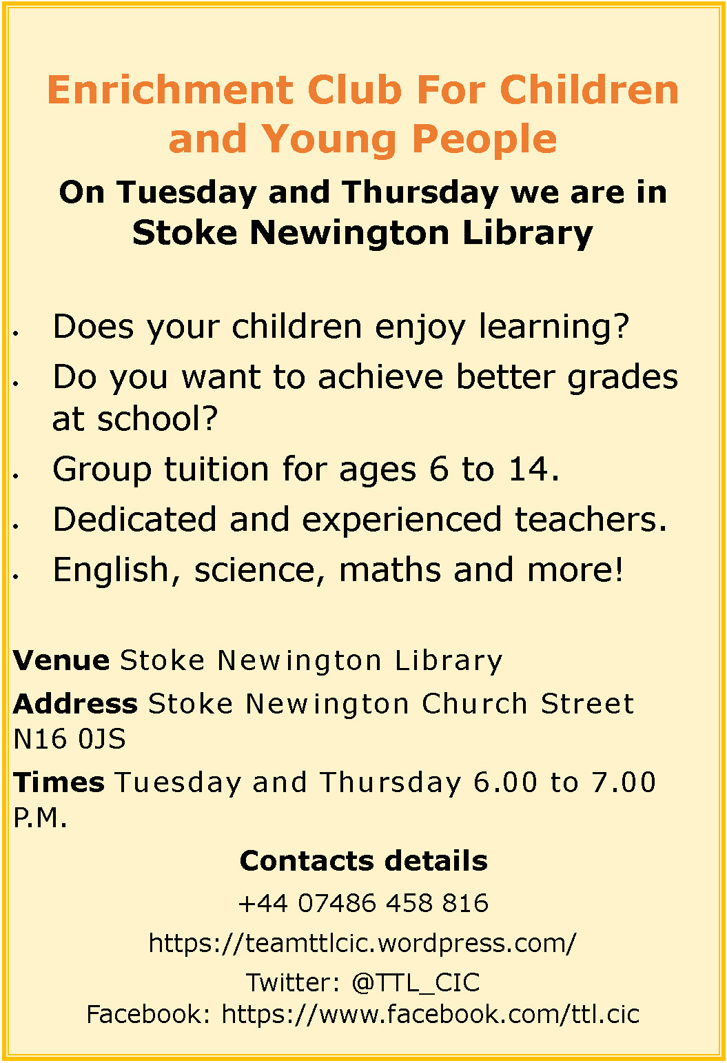 Enrichment Club for children and YoungPeople