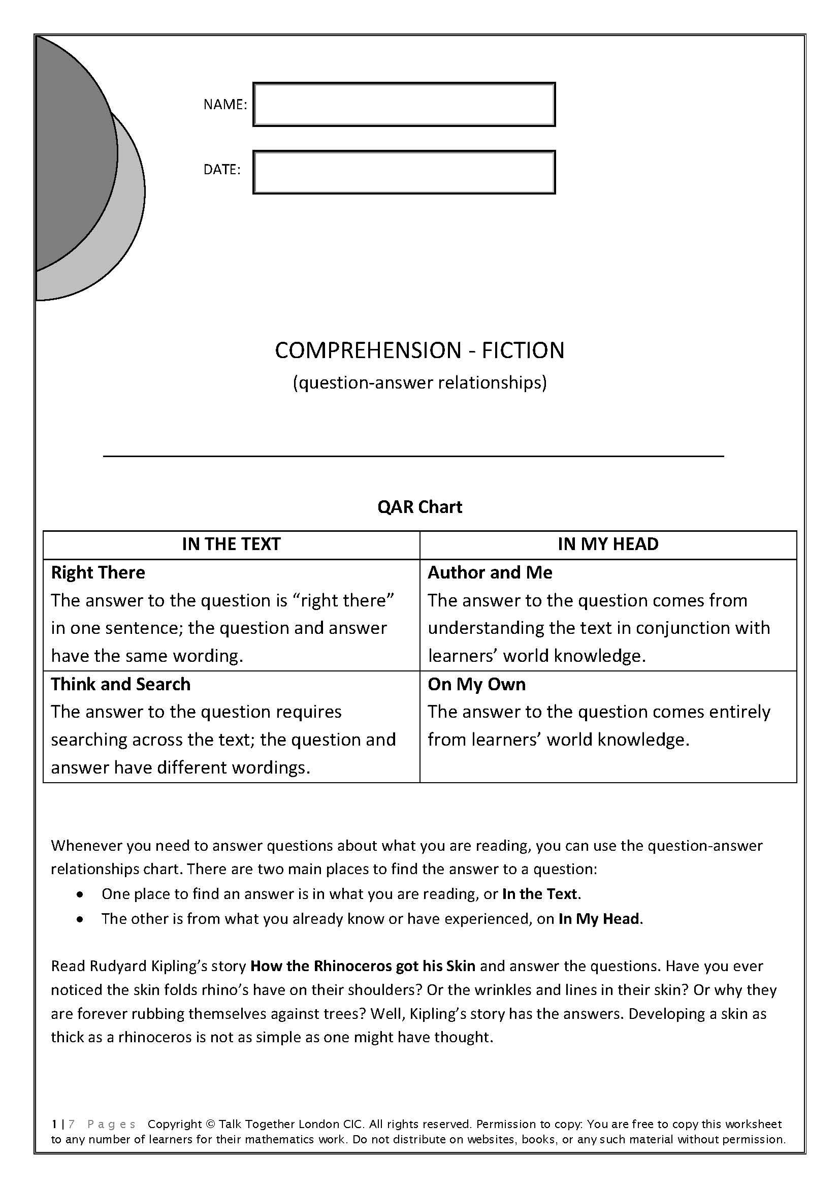 QAR Comprehension Fiction - Worksheet with a Rudyard Kipling story and 28 QAR questions.