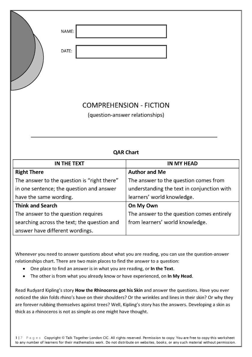 QAR Comprehension Fiction - Worksheet with a Rudyard Kipling story and 28 QAR questions.