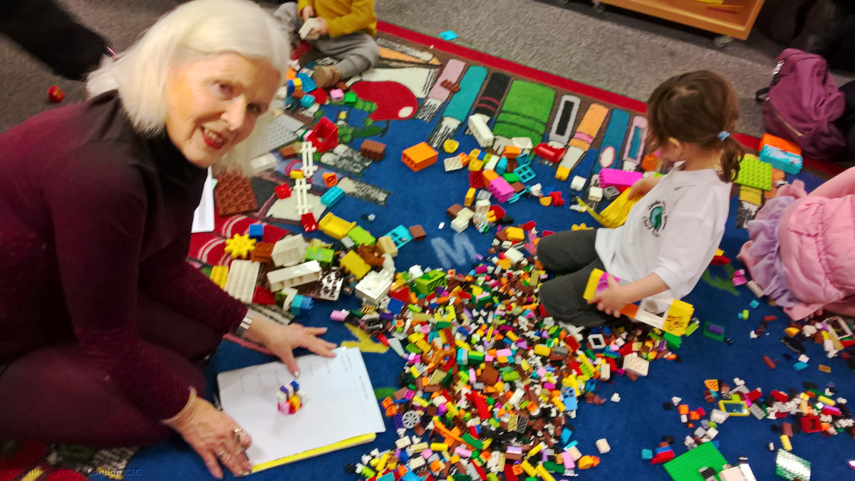 January 2020 event: Lego Stories in the library. Children, parents, carers and grandparents creating stories with play.
